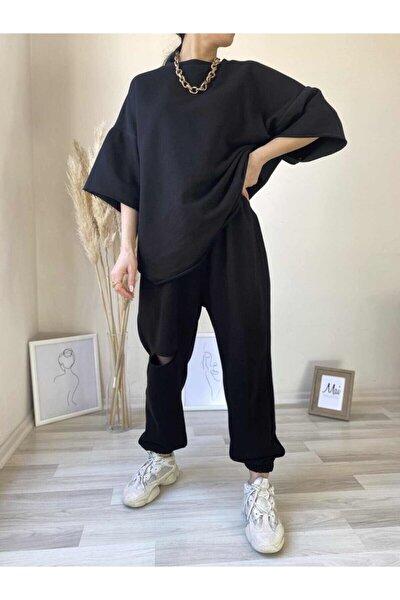 Kadın Siyah Oversize Eşofman Takım