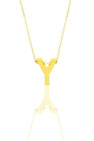Gümüş Altın Yaldızlı Üç Boyutlu Minimal Y Harf Kolye
