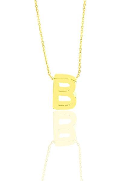 Gümüş Altın Yaldızlı Üç Boyutlu Minimal B Harf Kolye