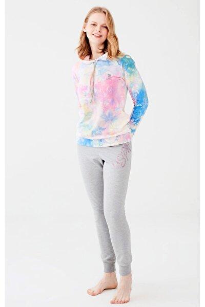 Kadın Renkli Dar Paça Pijama Takım