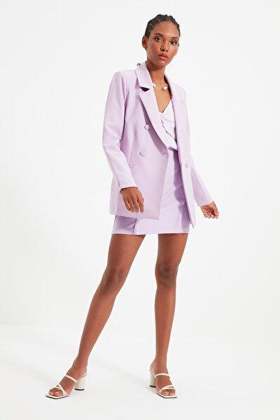Lila Düğmeli Kruvaze Kapamalı Blazer Ceket TWOSS21CE0163