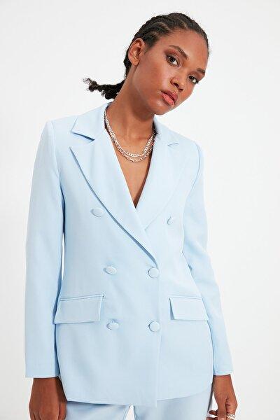 Açık Mavi Düğme Detaylı Blazer Ceket TWOSS21CE0137