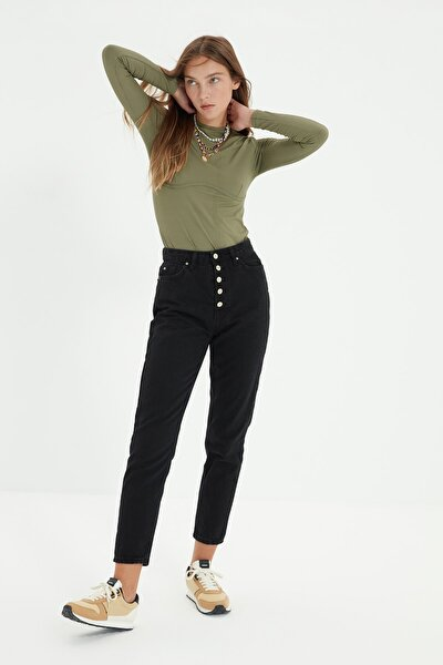 Siyah Önden Düğmeli Yüksek Bel %100 Organik Pamuk Mom Jeans TWOSS20JE0273