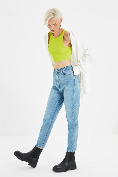 Mavi Yıkamalı Yüksek Bel Mom Jeans TWOSS20JE0099