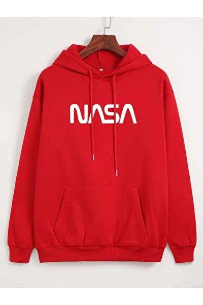 Unisex Kırmızı Nasa Sweatshirt