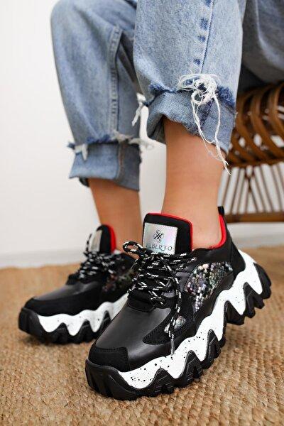 Lutzy Siyah Süet Yılan Detaylı Renkli Tabanlı Sneakers Spor Ayakkabı