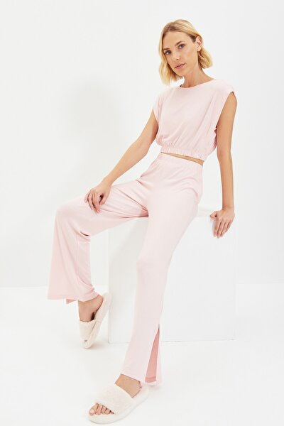 Pudra Beli Lastikli Örme Yırtmaçlı Pijama Takımı THMAW22PT0018