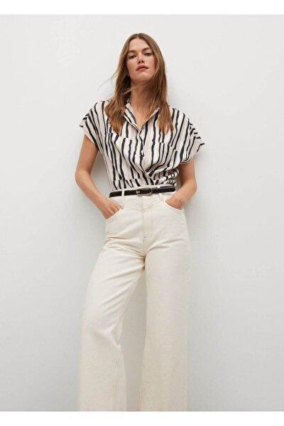 Kadın Kırık Beyaz Geniş Kesim Çizgili Gömlek