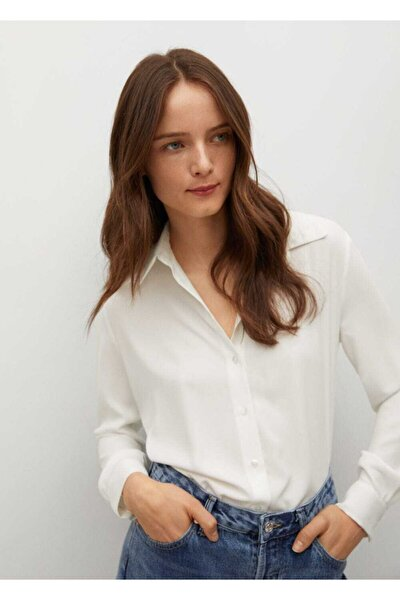 Kadın Kırık Beyaz Dökümlü Düğmeli Gömlek