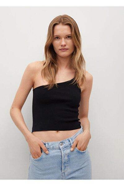 Kadın Siyah Düğümlü Asimetrik Üst T-Shirt