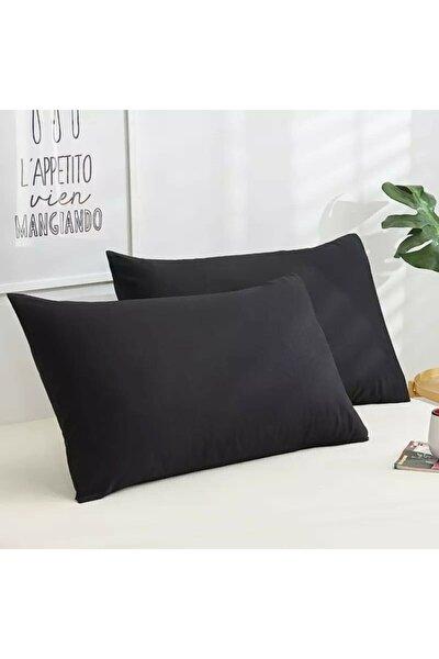 2 Adet Siyah Yastık Kılıfı 50x70 Pamuk