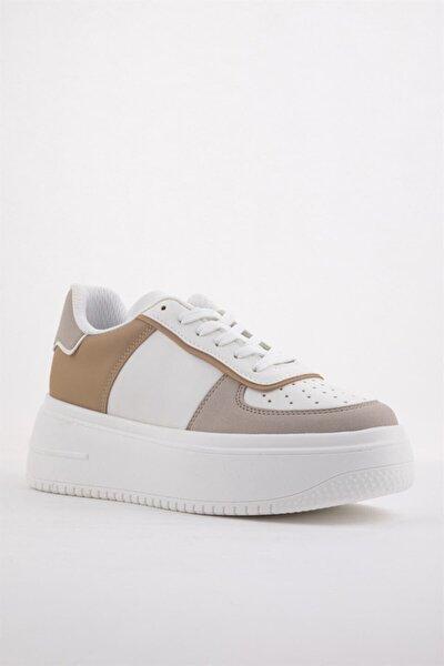 Kadın Beyaz Bej Sneaker Yüksek Tabanlı Spor Ayakkabı