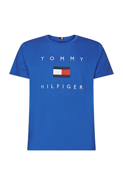 Erkek Mavi T-Shirt Tommy Flag Hilfiger Tee MW0MW14313