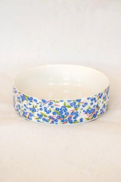 Mavi Çiçek Desen Jumbo Salata Tabağı