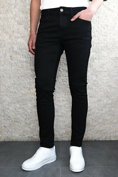 Erkek Siyah Slim Fit Kot Pantolon