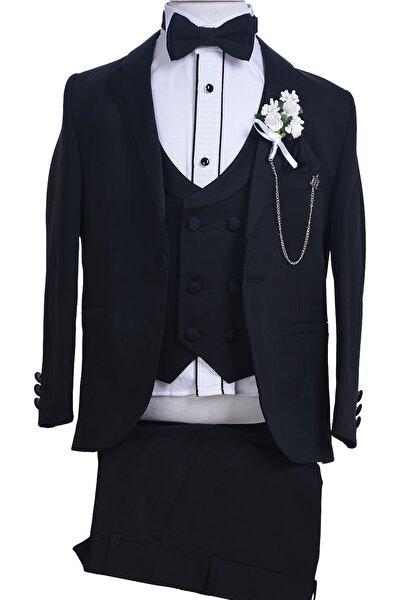 Siyah Çıkma Yaka Siyah Ceketli Kruvaze Yelekli Erkek Çocuk Takım