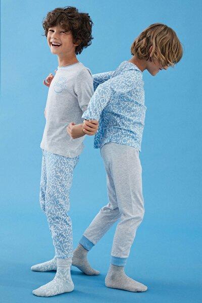 Çok Renkli Erkek Çocuk Letters 4lü Pijama Takımı
