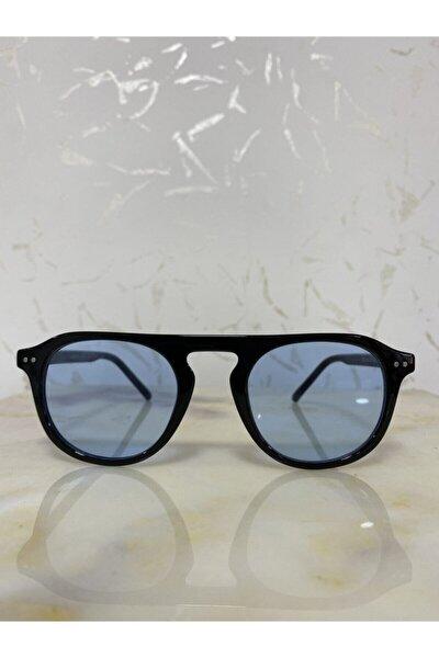 Unisex Mavi Siyah Yuvarlak Güneş Gözlüğü Zvhru-2151