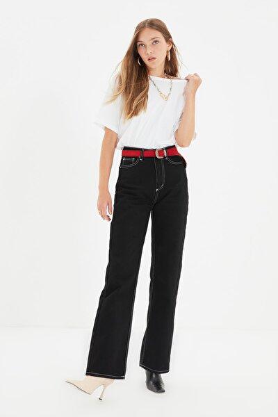 Siyah Kontrast Dikiş Detaylı Yüksek Bel 90's Wide Leg Jeans TWOAW22JE0719