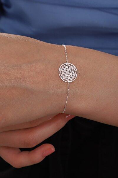 Kadın Tamamı Saf Orjinal 925 Ayar Gümüş Yaşam Çiçeği Kolye