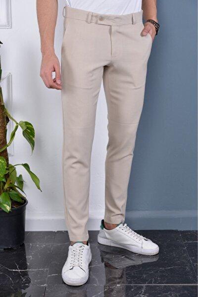 Erkek Krem Renk Italyan Kesim Slimfit Kumaş Pantolon
