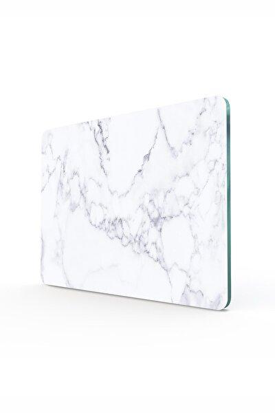 Beyaz Mermer Görünümlü | Cam Kesme Tahtası - Kesim Tablası | 20cm X 30cm