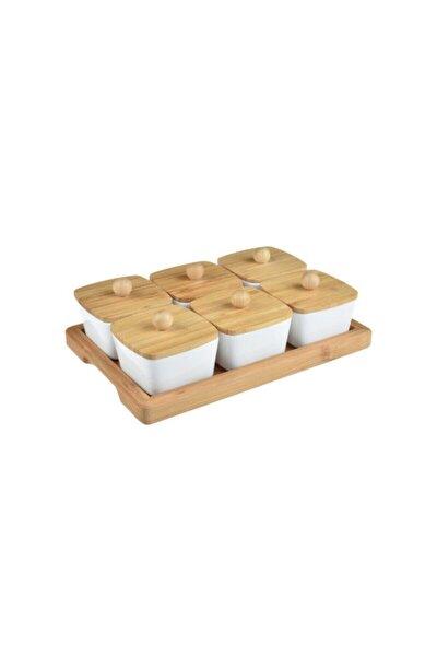 Lalin - 13 Parça Bambu Kapaklı Kahvaltı Seti