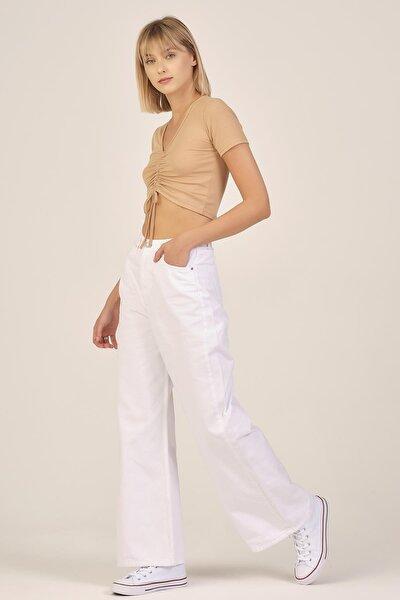Kadın Beyaz Renk Wide Leg Kalıp Yüksek Bel Jean