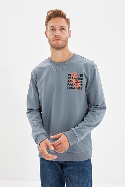 Antrasit Erkek Regular Fit Uzun Kollu Bisiklet Yaka Baskılı Sweatshirt TMNAW22SW0572