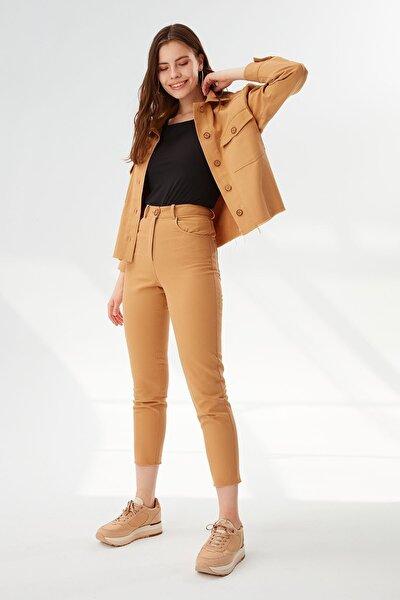 Kadın Beş Cep Düğmeli Pantolon