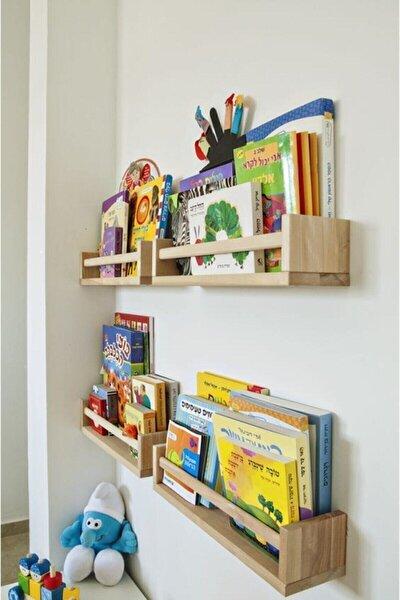 Bej Montessori Çocuk Odası Duvar Rafı Ahşap Kitaplık Raf 4 Adet