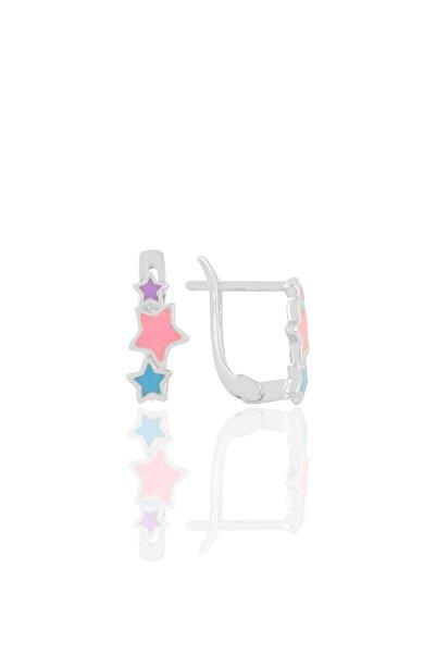 Gümüş Renkli Mineli Yıldızlar Küpe