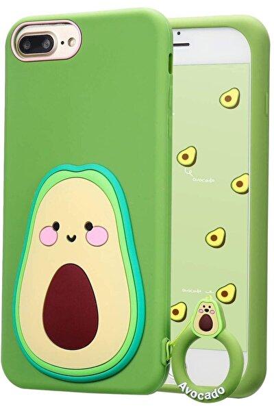 Apple Iphone 7plus - 8plus - 6splus Sevimli Avokado Askılı 3d Silikon Kılıf