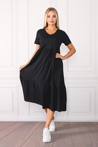 Kadın Siyah Geniş Kesim V Yaka Maxi Elbise
