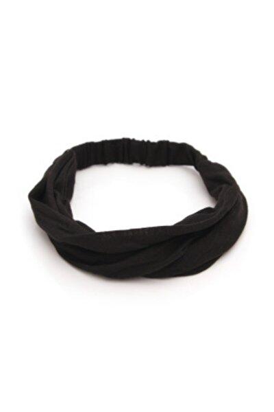 Paraşüt Bandana Sade Düz Renk Pamuklu Kumaş Lastikli Siyah