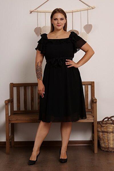 Büyük Beden Volanlı Trend Şifon Elbise