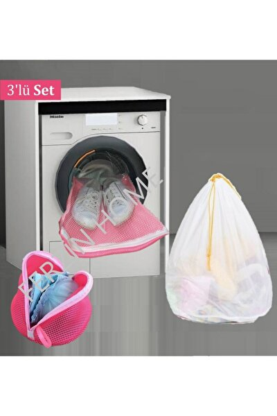 3 Lü Set Çamaşır Sütyen Ayakkabı Yıkama Filesi