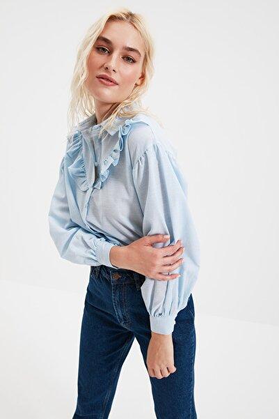 Mavi Fırfır Detaylı Gömlek TWOSS20GO0357