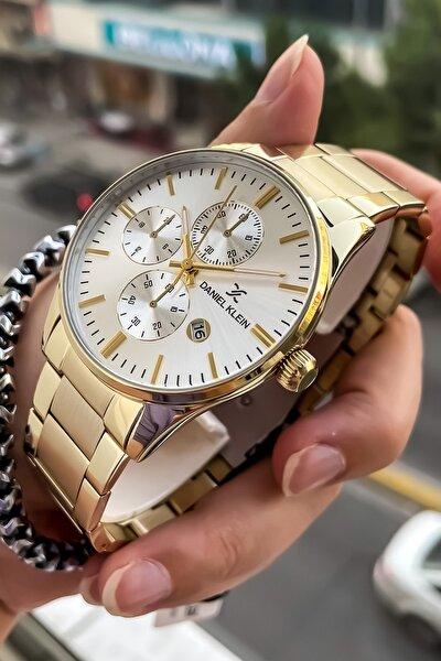 Çelik Kordon Rose Gold Renk Erkek Kol Saati + Bileklik Hediyeli