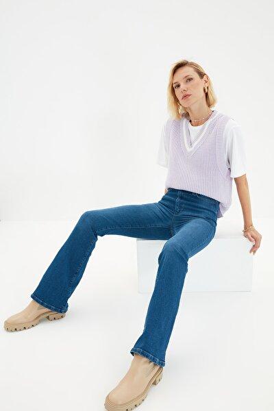 Lacivert Yüksek Bel Flare Jeans TWOSS21JE0246