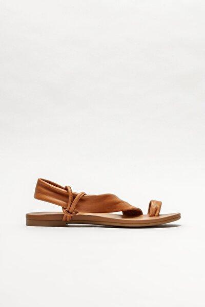 Taba Deri Kadın Parmakarası Sandalet