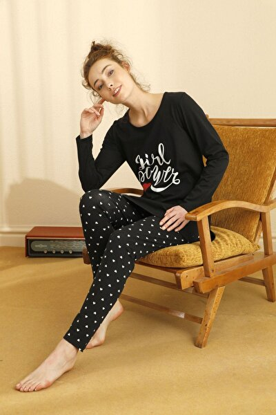 Pamuklu Likralı Taytlı Pijama Takım