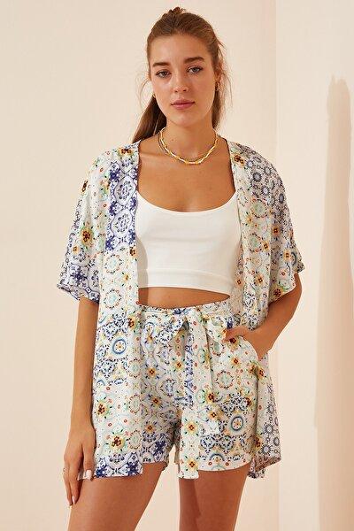 Kadın Açık Mavi Desenli Kimono Şort Viskon Takım  FN02863