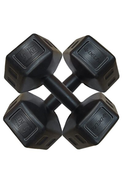5 Kg x 2 Adet Köşeli Siyah Plastik Dambıl Ağırlık Seti