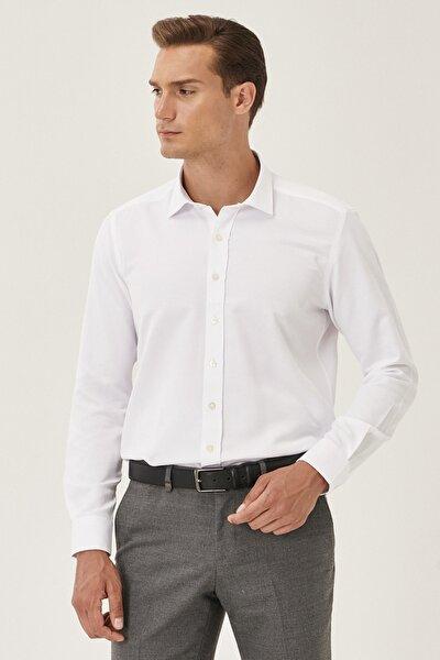 Erkek Beyaz Tailored Slim Fit Klasik Yaka Armürlü Gömlek