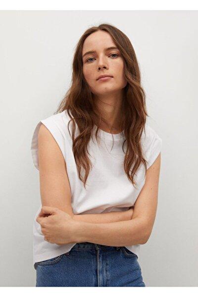 Kadın Beyaz Pili Detaylı Tişört