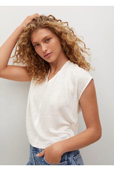 Kadın Beyaz %100 Keten Tişört