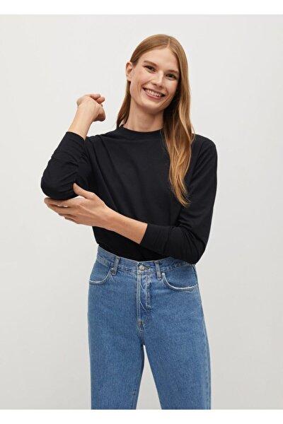 Kadın Siyah Uzun Kollu Pamuklu Tişört
