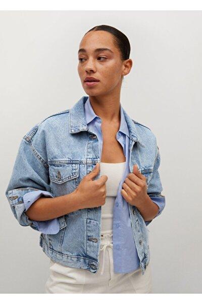 Kadın Donuk Mavi Geniş Kesim Kot Ceket