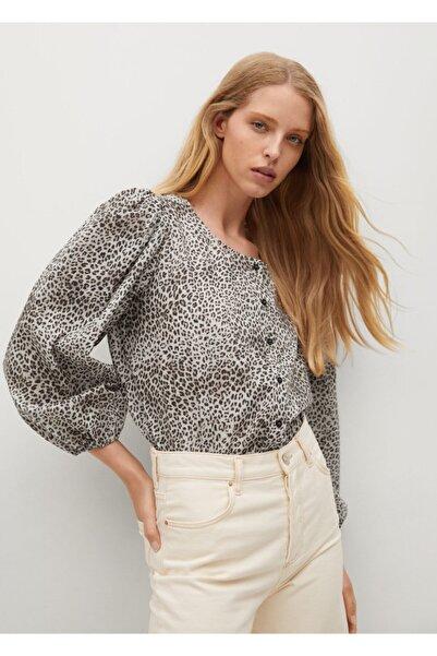 Kadın Gri Leopar Desenli Bluz
